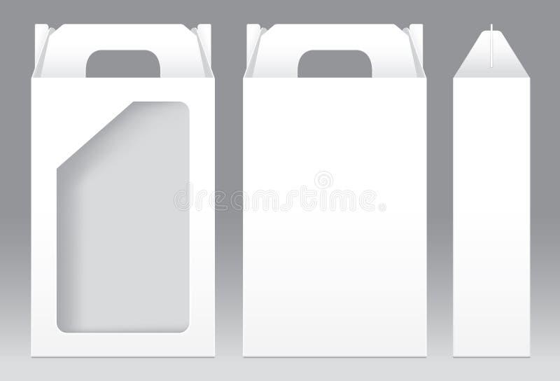 Högväxt mellanrum för mall för fönster för ask vit form klippt ut förpackande stock illustrationer