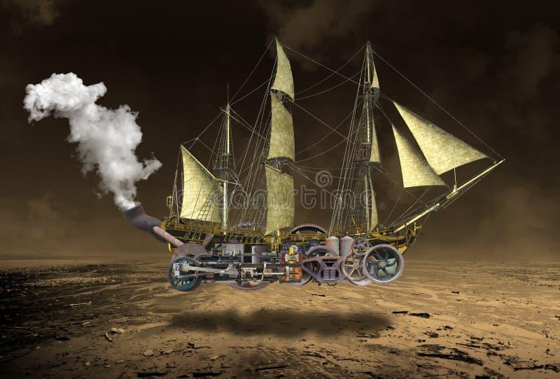 Högväxt overkligt Steampunk seglingskepp arkivfoto