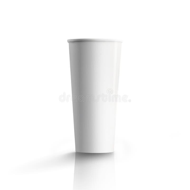 Högväxt pappers- kaffekopp, över vit bakgrund royaltyfri fotografi