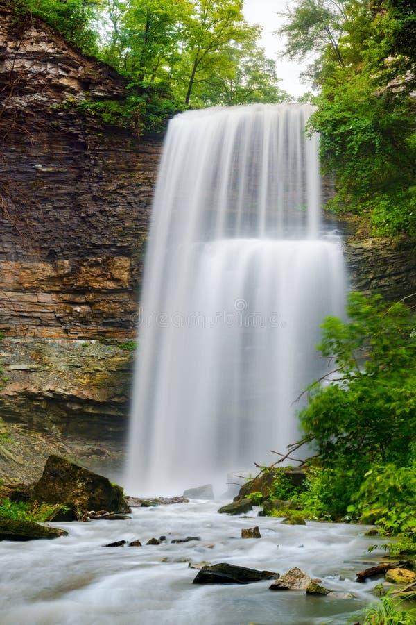 Högväxt profil av en kraftig vattenfall arkivbild
