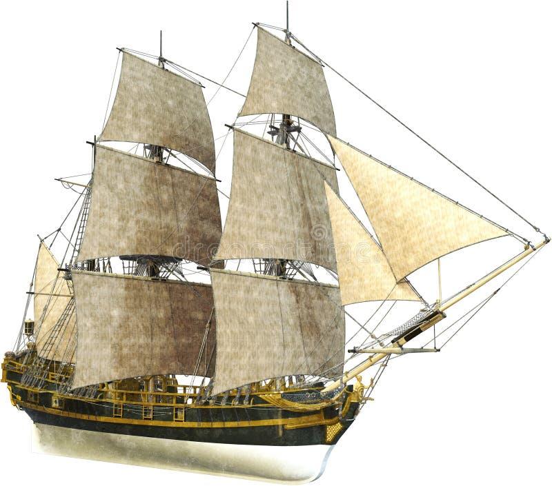 Högväxt segla skepp, försäljningar som isoleras royaltyfri illustrationer
