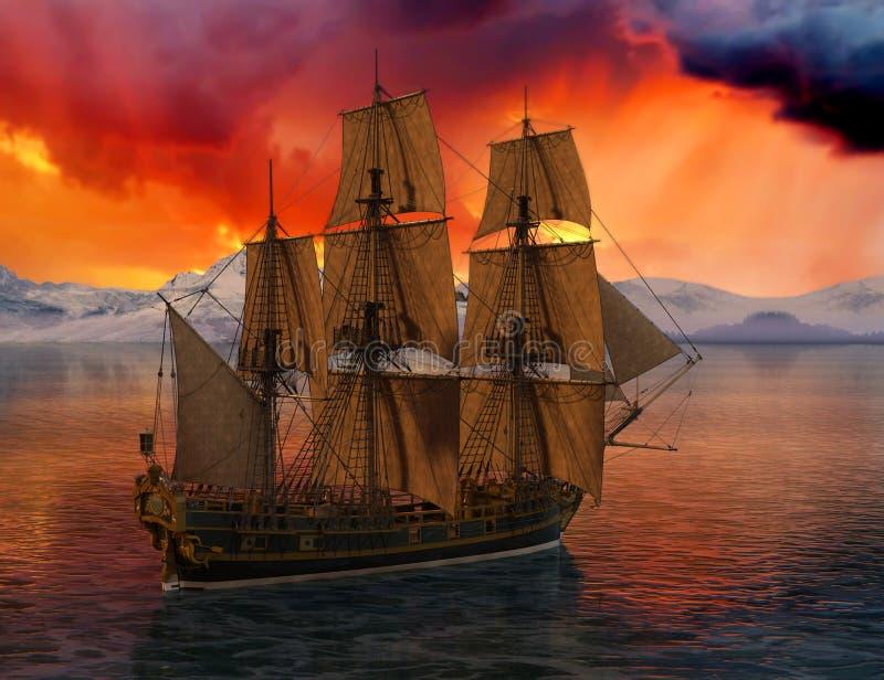 Högväxt seglingskepp, hav, hav royaltyfri foto