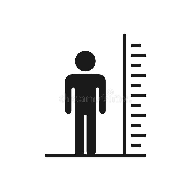 Högväxt skalasymbol för man Symbol för vektorillustrationhöjd Högväxt personsymbol royaltyfri illustrationer