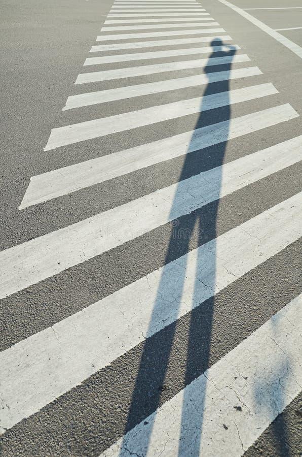 Högväxt skugga av en fotograf på zebramarkering royaltyfria foton