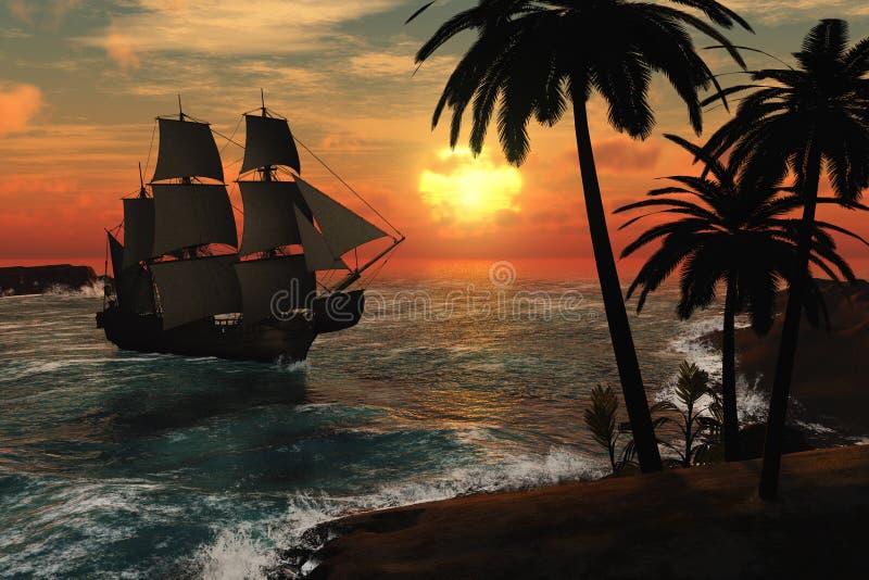 högväxt tropiskt för shipsolnedgång vektor illustrationer