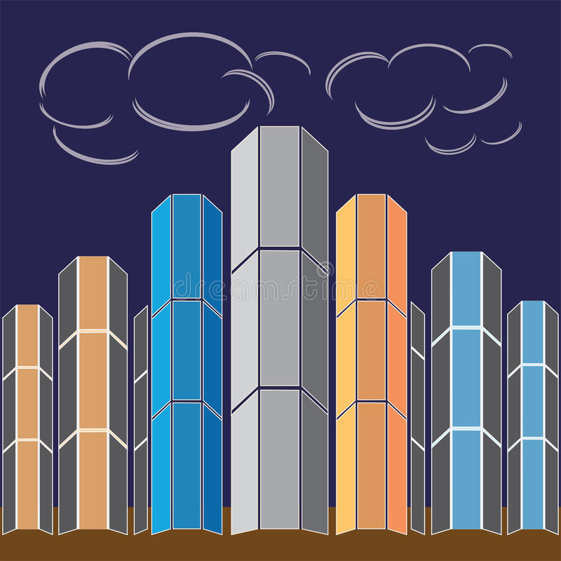 Högväxta byggnader royaltyfri illustrationer