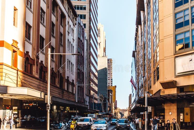 högväxta byggnader i centrum av Sydney Australia royaltyfri fotografi