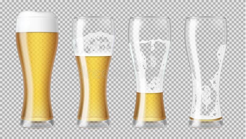 Högväxta realistiska exponeringsglas med lageröl och skum royaltyfri illustrationer