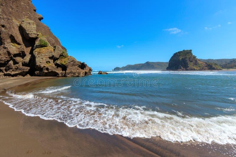 Högvatten Lion Rock på den Piha stranden, Lion Rock, Nya Zeeland fotografering för bildbyråer
