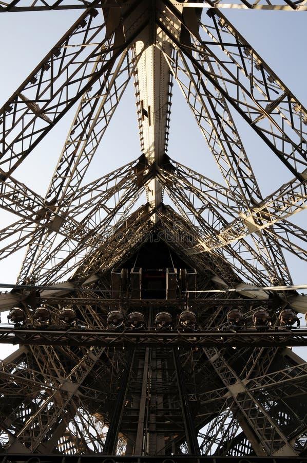 Höhenruder innerhalb des Eiffelturmgebäudes stockbild