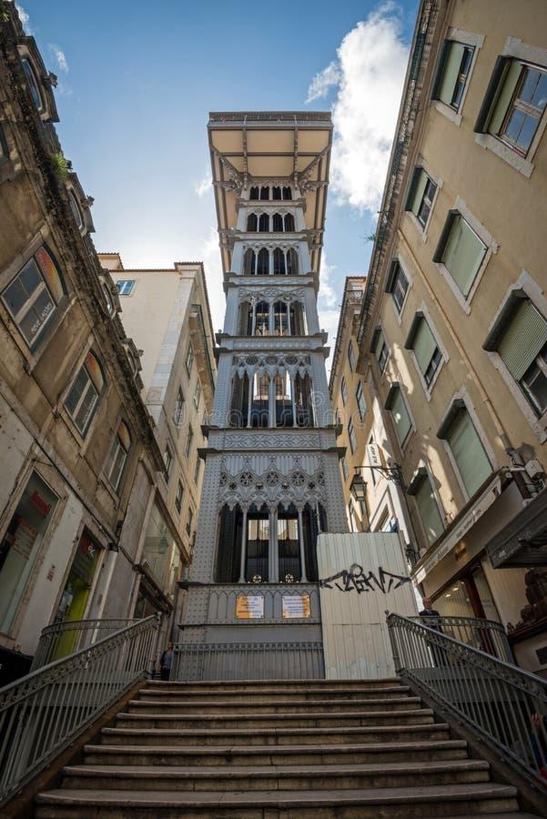 Höhenruder Sankt-Justa in Lissabon, Portugal stockbilder