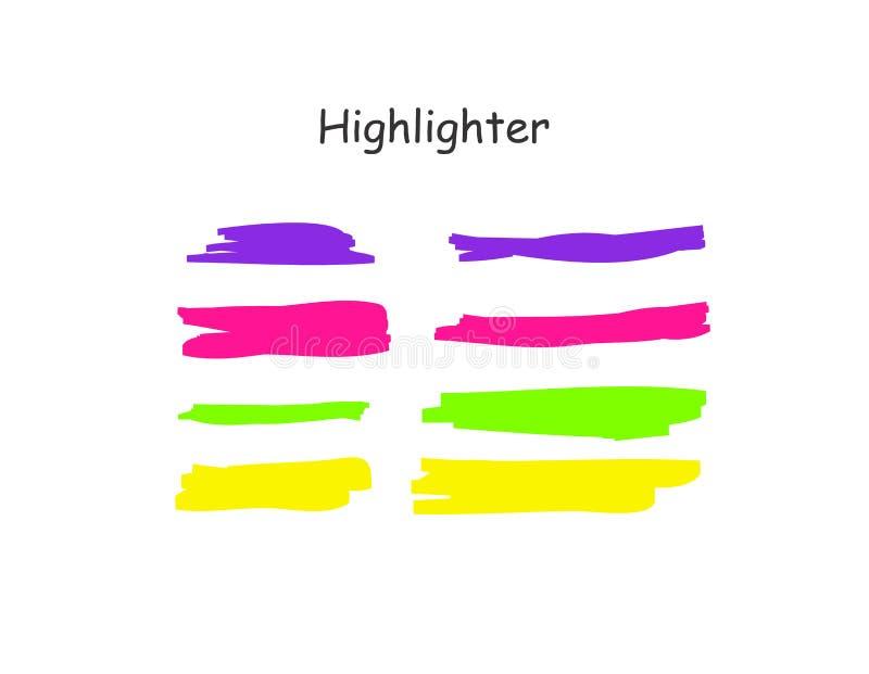 Höhepunktbürsten-Anschlagsatz Vektorfarbmarkierungsstiftlinien Gelb, rosa, purpurrot, unterstreichen Grün Handgezogenen Höhepunkt lizenzfreie abbildung