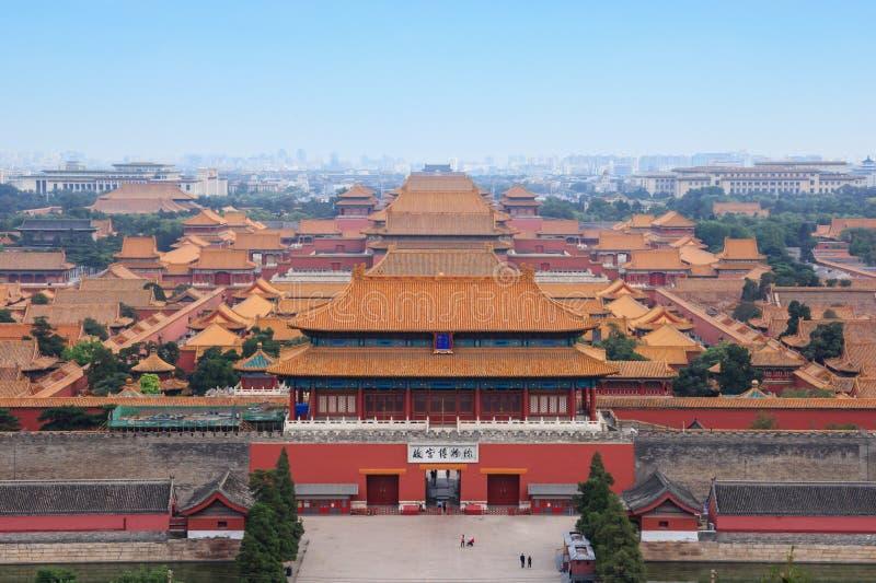 Höhere Ansicht über Verbotene Stadt in Peking lizenzfreie stockbilder