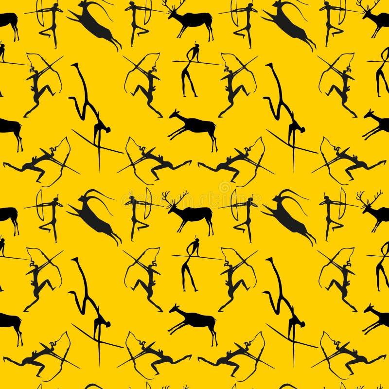 Höhle-Anstrich-nahtloses Muster Jagdszenenhintergrund vektor abbildung