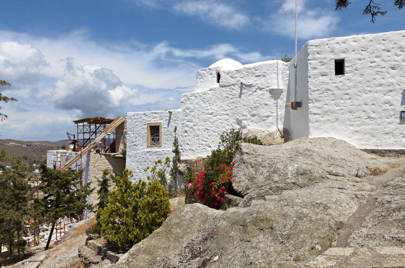 Höhle der Apocalypse in Patmos-Insel, Griechenland stockbilder