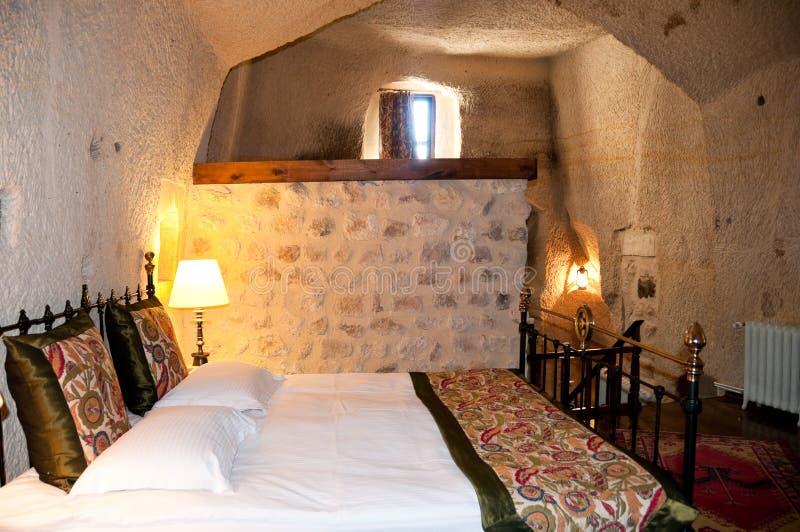 Höhle-Hotelzimmer Cappadocia die Türkei stockbilder