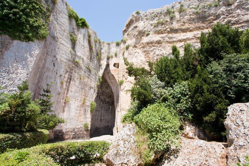 Höhle-Ohr von Dionysius in Syrakus, Italien lizenzfreie stockfotos