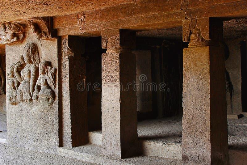 Höhle 6, Portal, Aurangabad-Höhlen, Maharashtra lizenzfreie stockfotografie