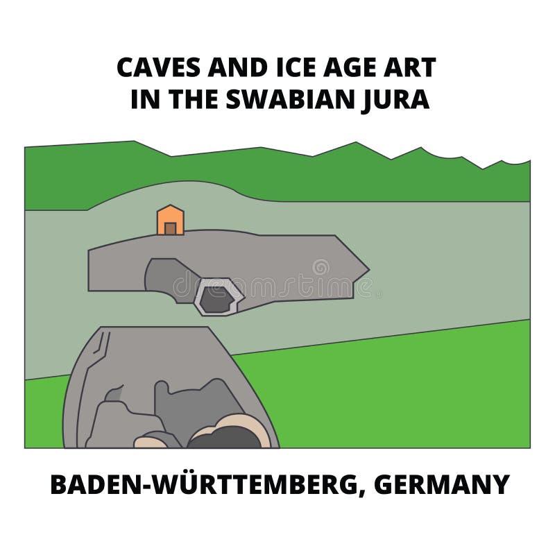 Höhlen, Baden-Wurttemberg, Deutschland-Linie Ikonenkonzept Höhlen, Baden-Wurttemberg, flaches Vektorzeichen Deutschlands, Symbol stock abbildung