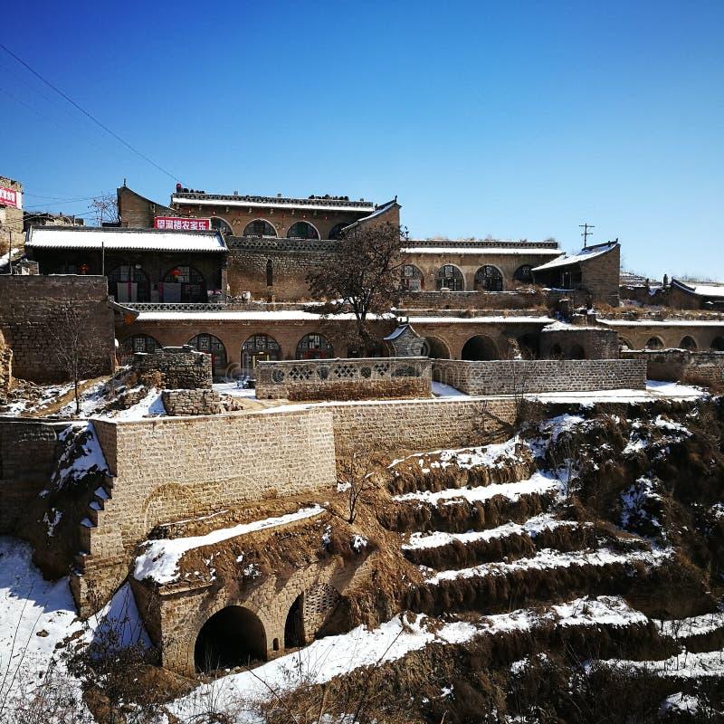 Höhlen-Haus in Qikou, Shanxi Nord-China stockbild