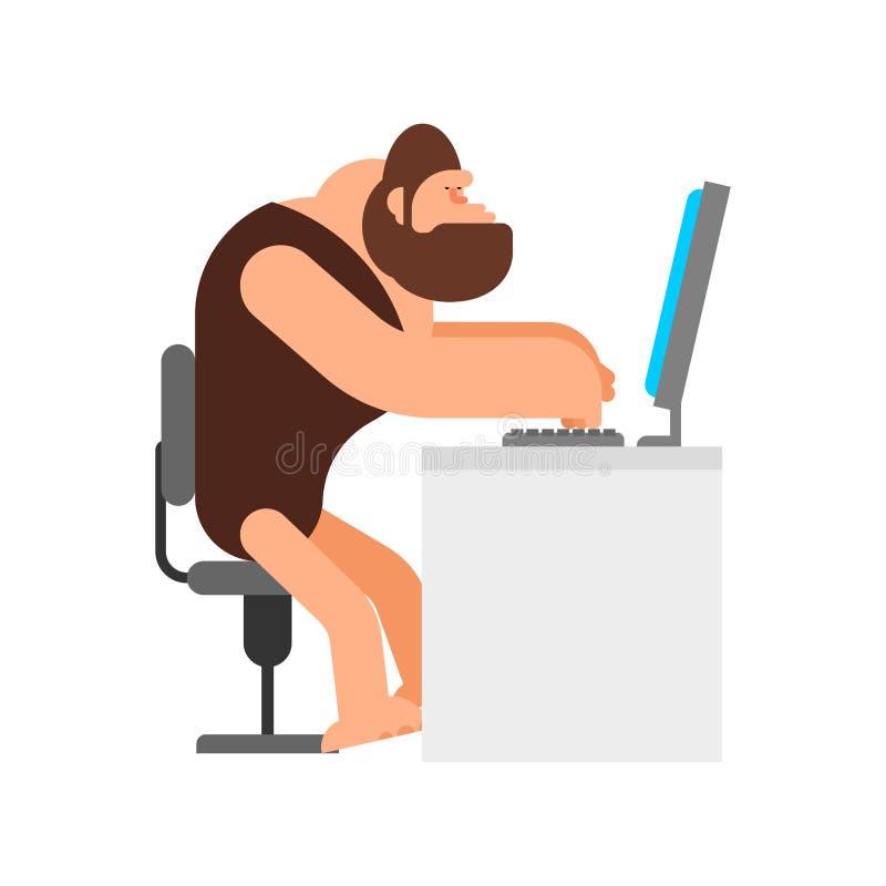 Höhlenbewohner und Computer Prähistorischer Mann und PC Alter Laptop stock abbildung