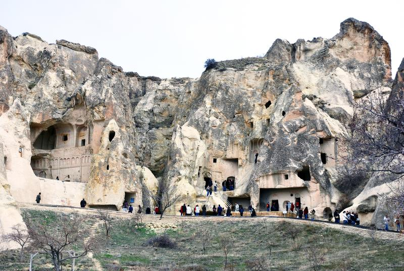 Höhlenhäuser in Cappadocia, die Türkei stockfotos