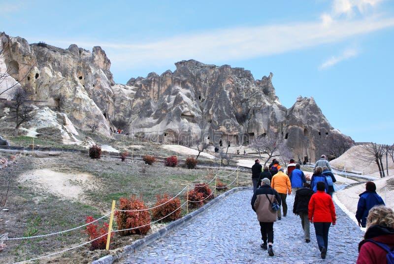 Höhlenhäuser in Cappadocia, die Türkei lizenzfreies stockbild