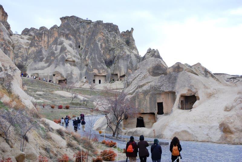 Höhlenhäuser in Cappadocia, die Türkei lizenzfreie stockfotografie