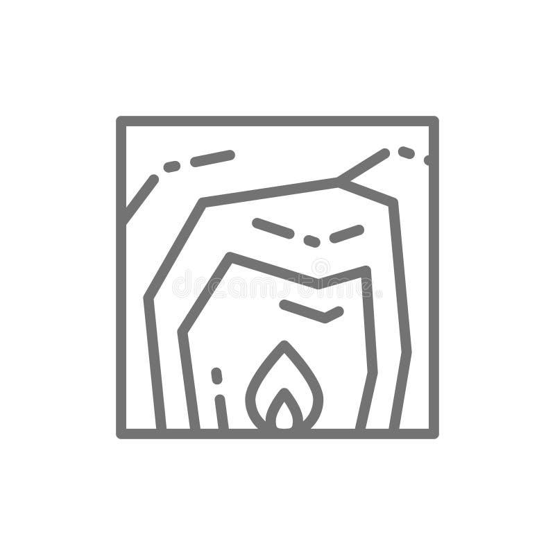 Höhlenleben, Feuer, Herd, prähistorische Hauptlinie Ikone lizenzfreie abbildung