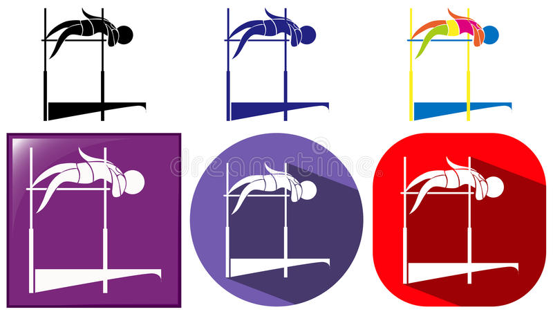 Höjdhoppsymbolen i många planlägger stock illustrationer