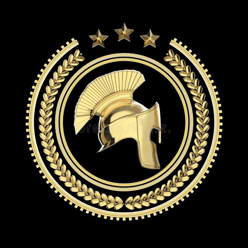Höjdpunkt specificerade spartanska, roman grekisk hjälm i lagerkransemblem med cirklar och stjärnor militär stridighetsymbol för  stock illustrationer