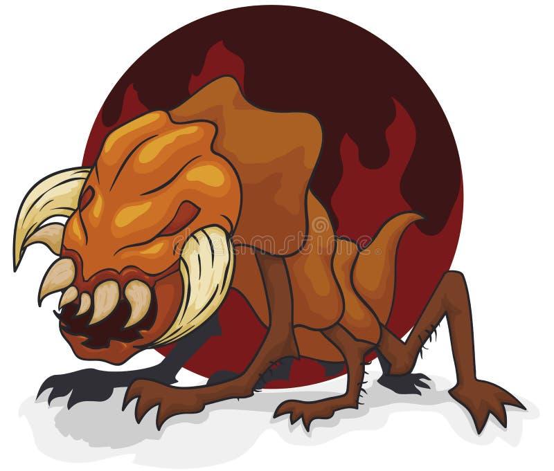 Höllisches Mutant-Monster mit großen Kiefern und den Stoßzähnen, Vektor-Illustration stock abbildung