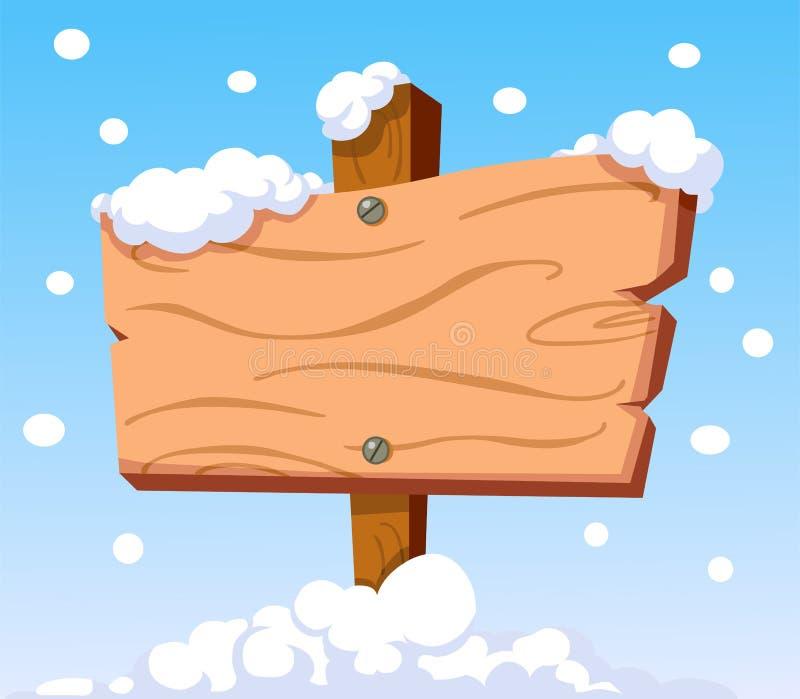 Hölzern kennzeichnen Sie innen Schnee lizenzfreie abbildung
