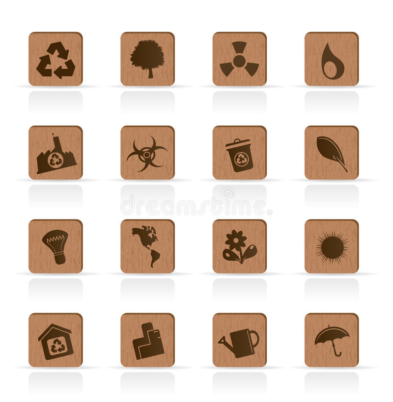 Hölzerne Ökologieikonen - vektorikonen-Set vektor abbildung