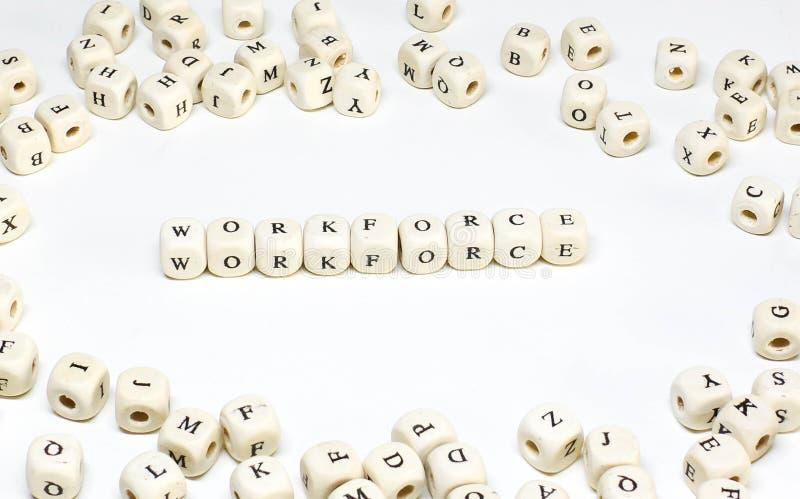 Hölzerne ABC-Arbeitskräfte des Personalmanagementausdruckes stockfoto