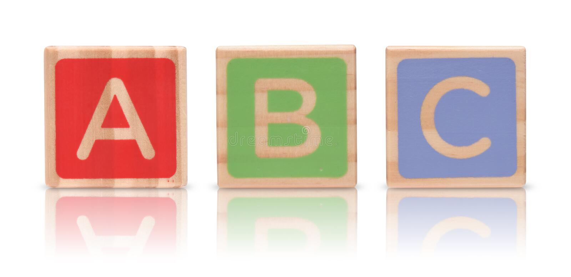 Hölzerne Alphabet-Blöcke stockfotos