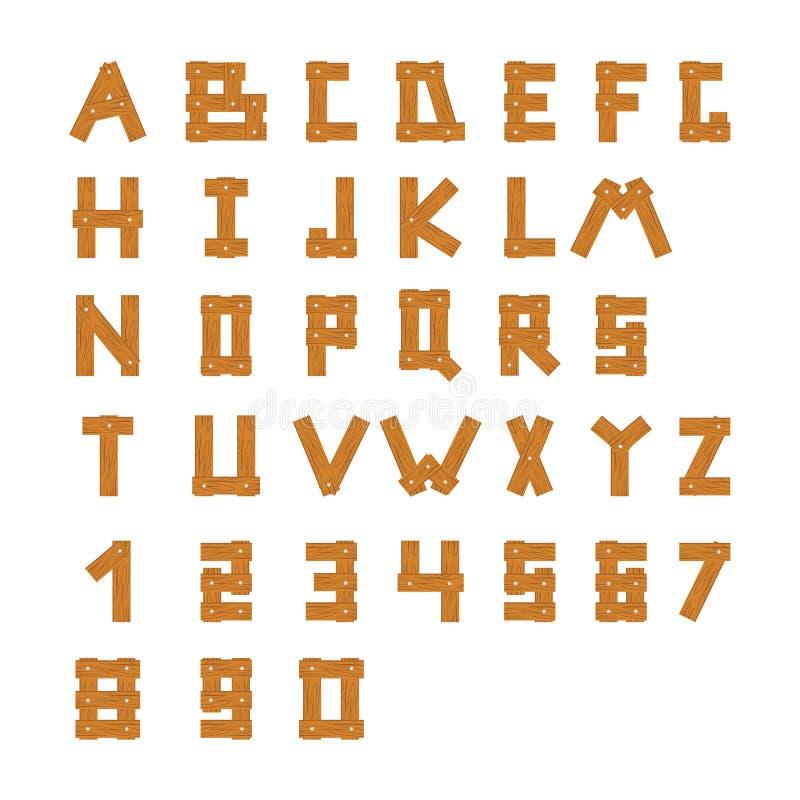 Hölzerne Alphabetblöcke mit Zeichen und Zahlen lizenzfreie abbildung