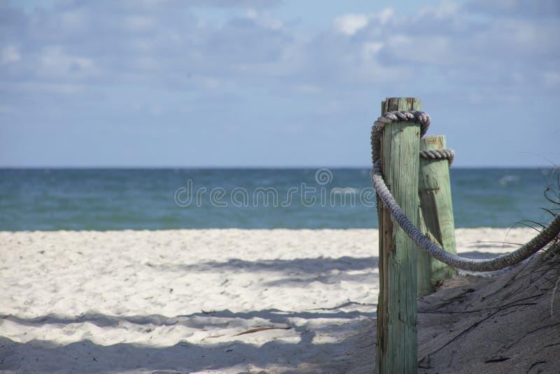 Hölzerne Anhäufung auf Strand stockbilder