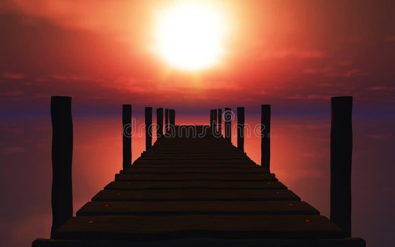 hölzerne Anlegestelle 3D bei Sonnenuntergang stock abbildung