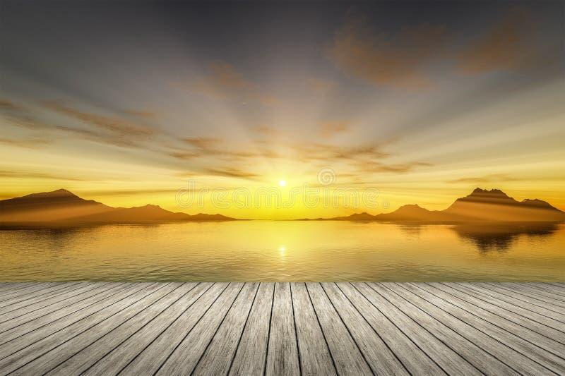 hölzerne Anlegestelle des Sonnenuntergangs lizenzfreie abbildung