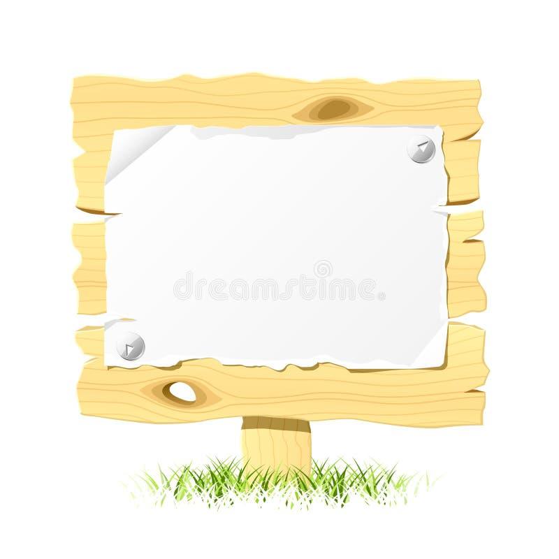 Hölzerne Anschlagtafel mit unbelegtem Papier. Vektor. lizenzfreie abbildung