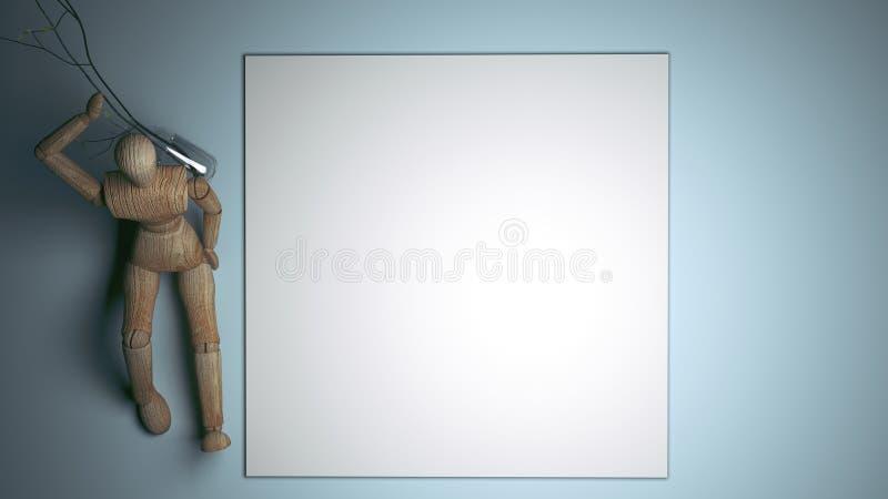 Hölzerne Attrappe, die leere weiße leere Karte für Ihren Text hält Wiedergabe 3d lizenzfreie abbildung