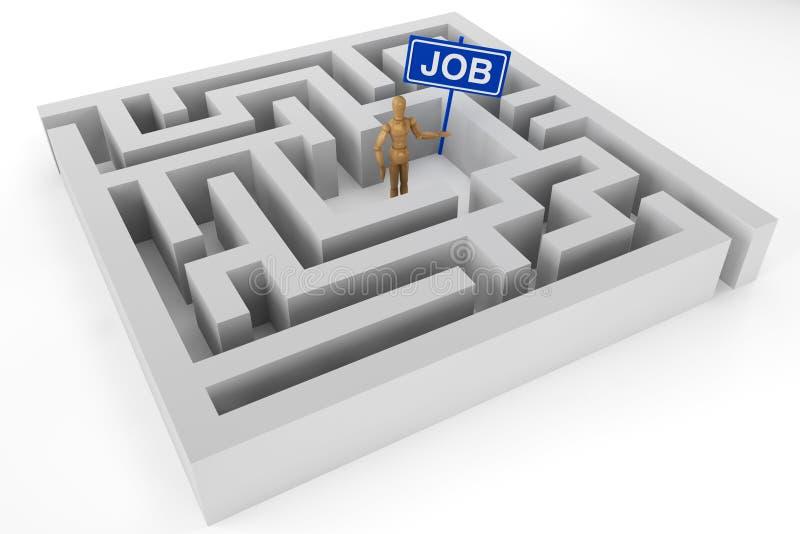 Hölzerne Attrappe mit Jobzeichen stockbilder