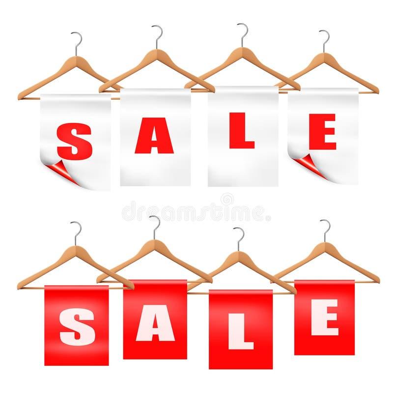 Hölzerne Aufhänger mit Verkaufsumbauten. Rabattkonzept. lizenzfreie abbildung