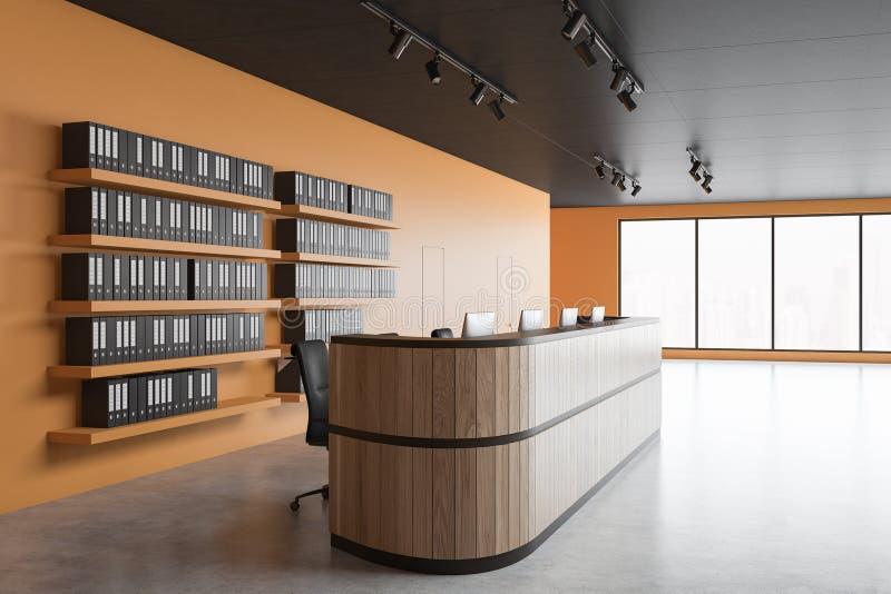 Hölzerne Aufnahme im orange Büro lizenzfreie abbildung