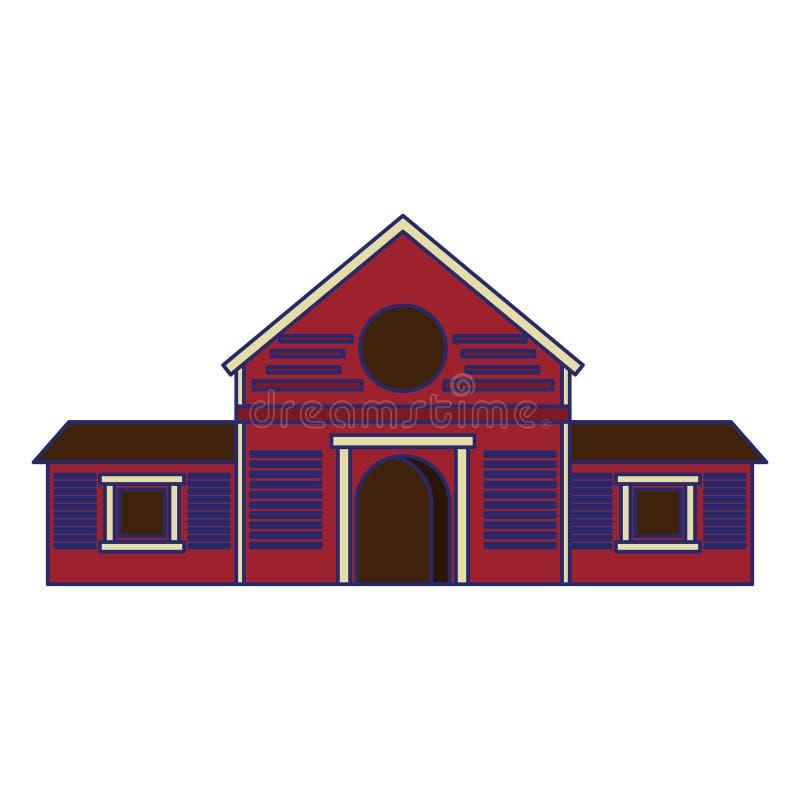 Hölzerne Bauernhofscheune, die lokalisierte blaue Linien errichtet lizenzfreie abbildung