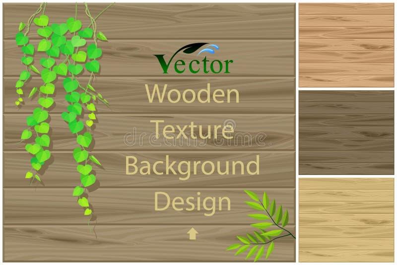 Hölzerne Beschaffenheit, Anlagen und Blätter vektor abbildung