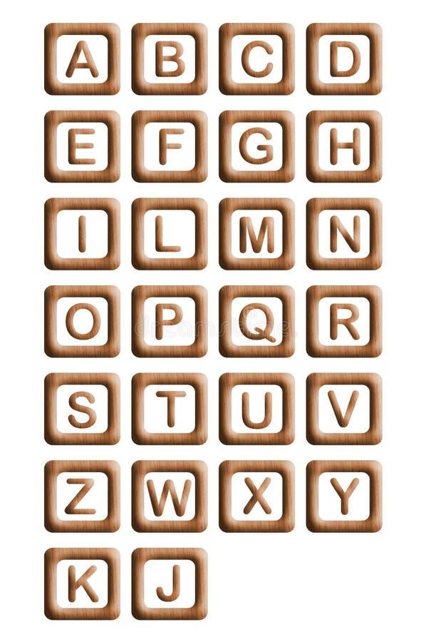 Hölzerne Block-Alphabet stock abbildung