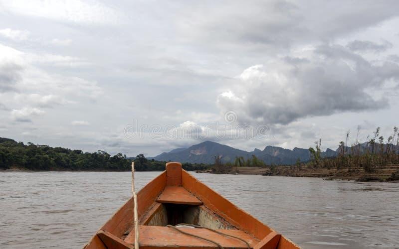 Hölzerne Bootsfront und grüne Dschungellandschaft, segelnd in das schlammige Wasser des Beni-Flusses, amazonischer Regenwald, Bol lizenzfreie stockfotos