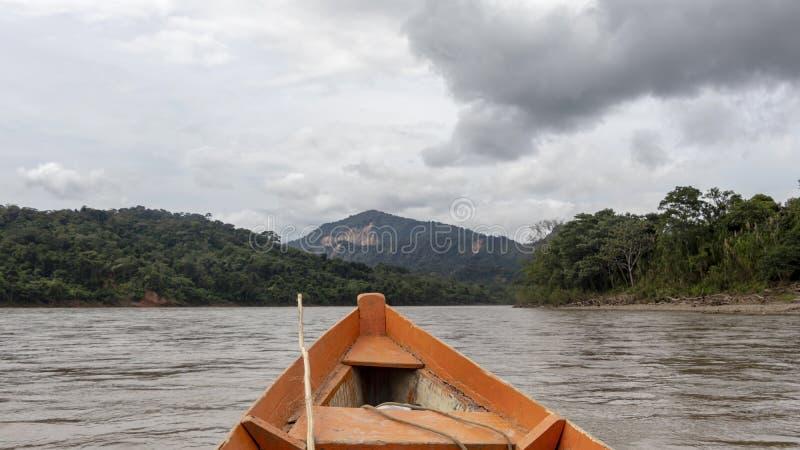 Hölzerne Bootsfront und grüne Dschungellandschaft, segelnd in das schlammige Wasser des Beni-Flusses, amazonischer Regenwald, Bol lizenzfreie stockfotografie